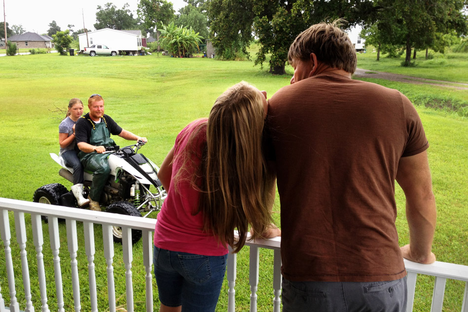 Aleena begs her dad to let her go mudslinging in the rain with his nephew and her second cousin, Elizabeth.